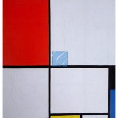 몬드리안 명화 그림 - black, blue and yellow의구성(캔버스화)